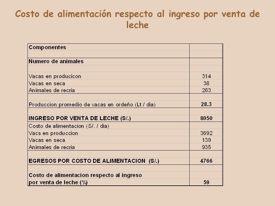 Costo de alimentación respecto al ingreso por venta de leche