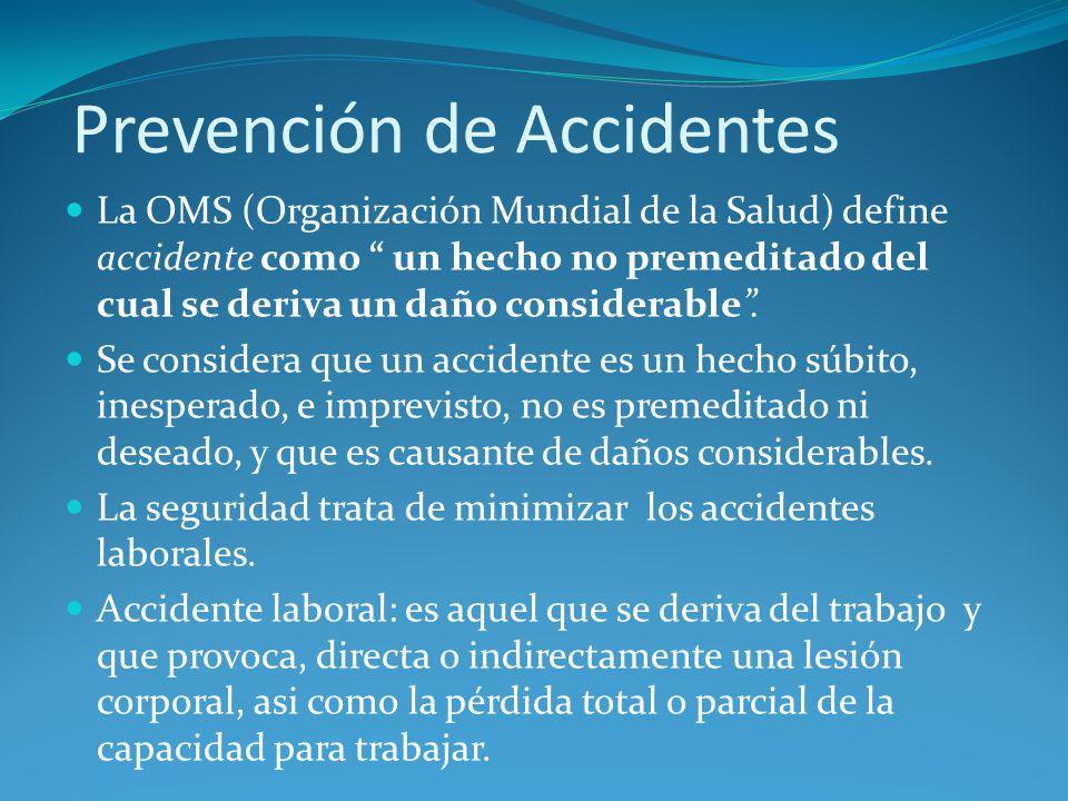 Prevención de Accidentes La OMS (Organización Mundial de la Salud) define accidente como un hecho no premeditado del cual se deriva un daño considerab
