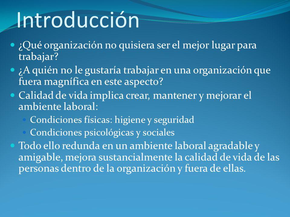 Introducción ¿Qué organización no quisiera ser el mejor lugar para trabajar? ¿A quién no le gustaría trabajar en una organización que fuera magnífica