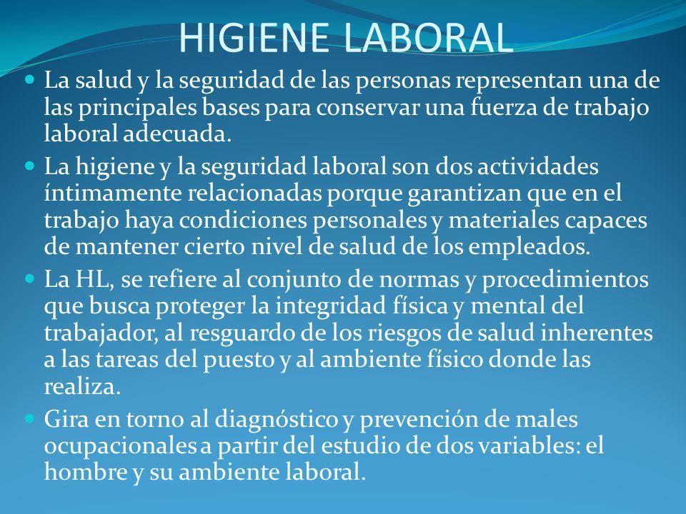HIGIENE LABORAL La salud y la seguridad de las personas representan una de las principales bases para conservar una fuerza de trabajo laboral adecuada