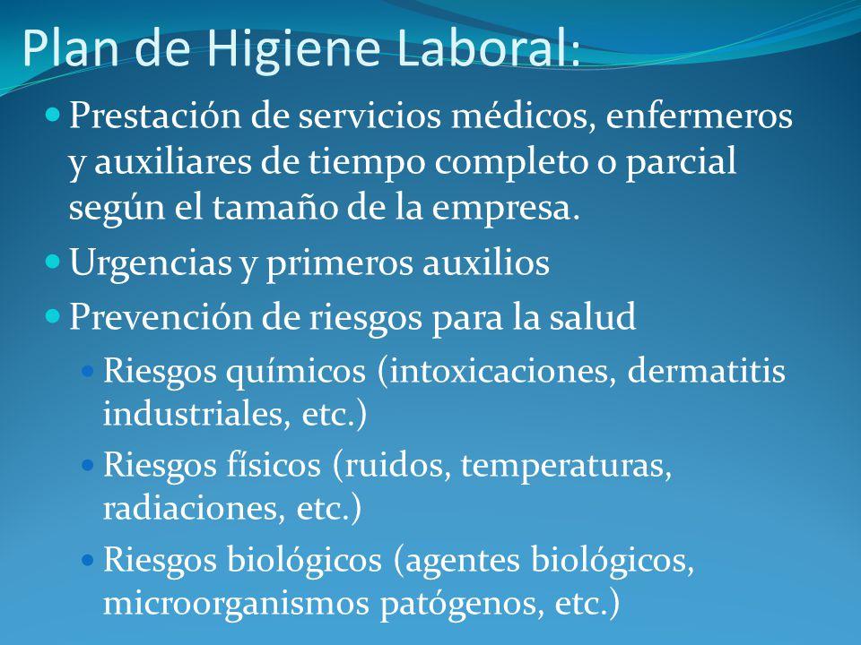 Plan de Higiene Laboral : Prestación de servicios médicos, enfermeros y auxiliares de tiempo completo o parcial según el tamaño de la empresa. Urgenci