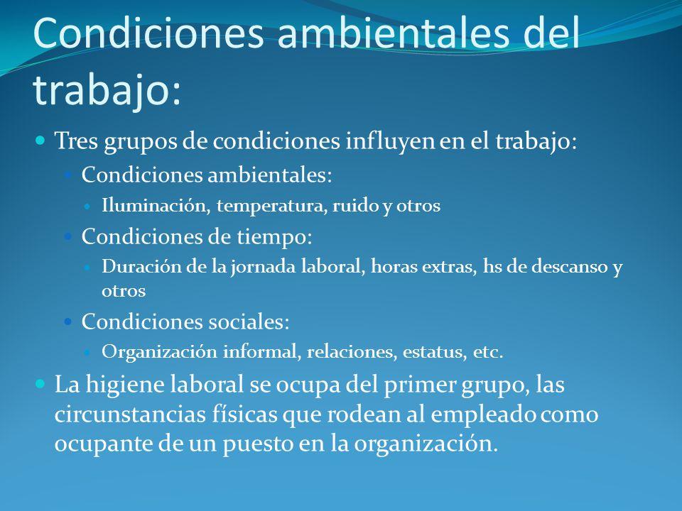 Condiciones ambientales del trabajo: Tres grupos de condiciones influyen en el trabajo: Condiciones ambientales: Iluminación, temperatura, ruido y otr