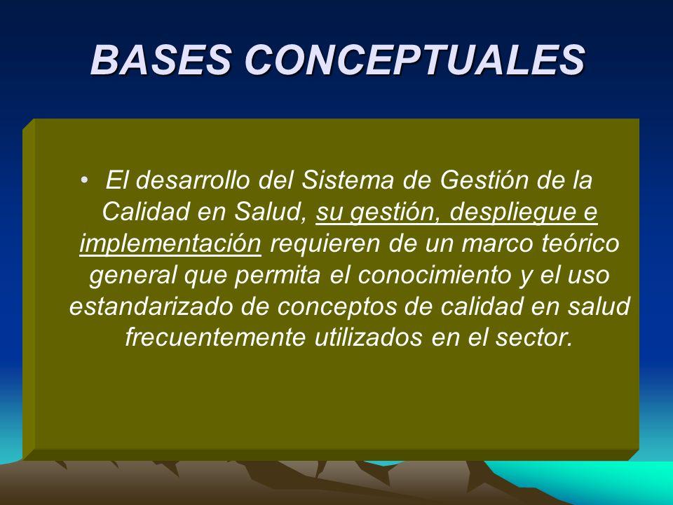 BASES CONCEPTUALES El desarrollo del Sistema de Gestión de la Calidad en Salud, su gestión, despliegue e implementación requieren de un marco teórico