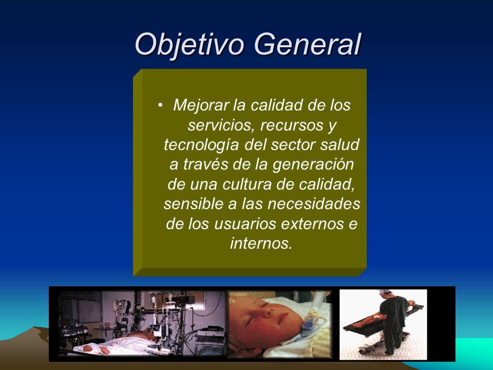 Objetivo General Mejorar la calidad de los servicios, recursos y tecnología del sector salud a través de la generación de una cultura de calidad, sens