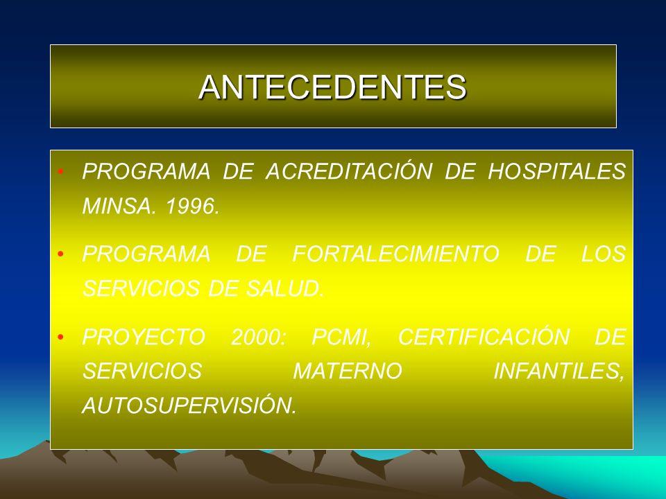 PROGRAMA DE ACREDITACIÓN DE HOSPITALES MINSA. 1996. PROGRAMA DE FORTALECIMIENTO DE LOS SERVICIOS DE SALUD. PROYECTO 2000: PCMI, CERTIFICACIÓN DE SERVI