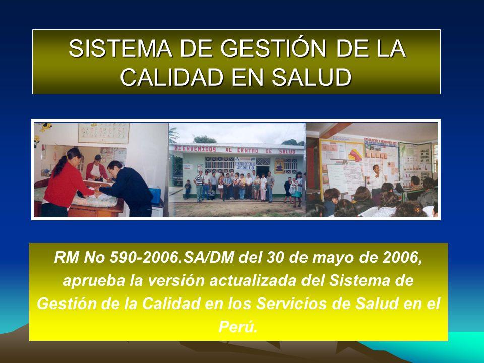 SISTEMA DE GESTIÓN DE LA CALIDAD EN SALUD RM No 590-2006.SA/DM del 30 de mayo de 2006, aprueba la versión actualizada del Sistema de Gestión de la Cal