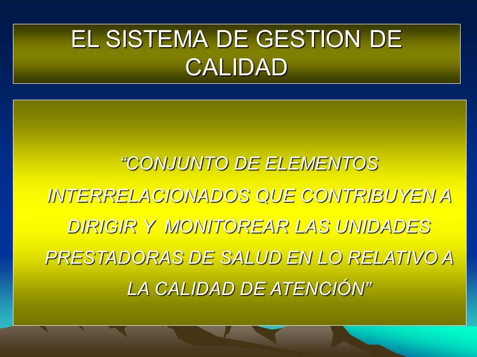 EL SISTEMA DE GESTION DE CALIDAD CONJUNTO DE ELEMENTOS INTERRELACIONADOS QUE CONTRIBUYEN A DIRIGIR Y MONITOREAR LAS UNIDADES PRESTADORAS DE SALUD EN L