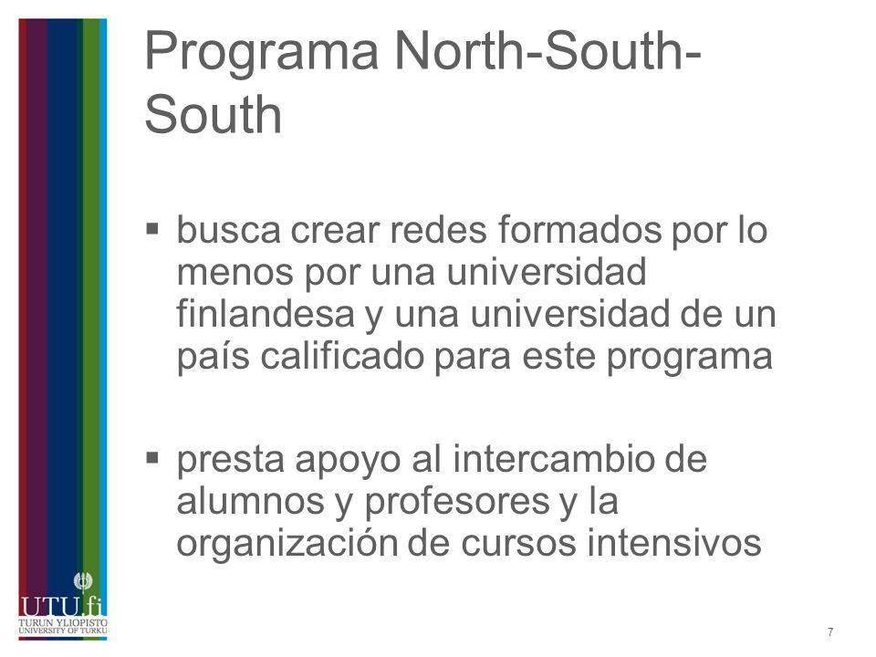 7 Programa North-South- South busca crear redes formados por lo menos por una universidad finlandesa y una universidad de un país calificado para este