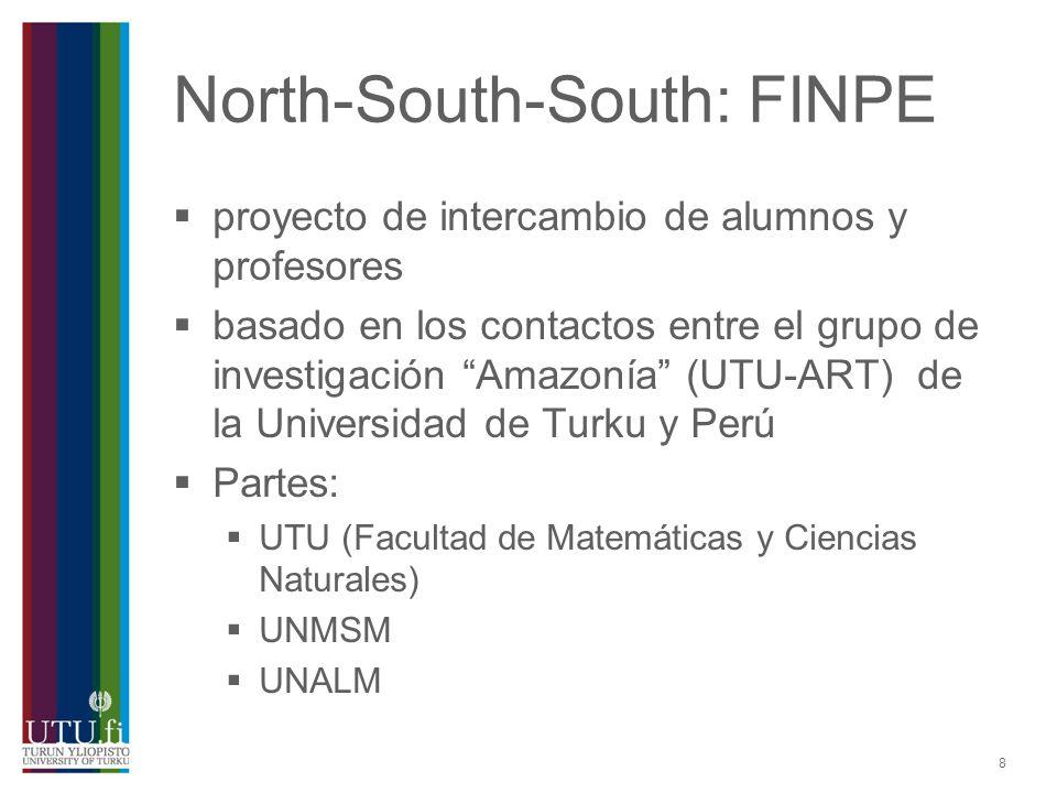9 FINPE: alumnos los becarios son elegidos por la universidad de origen (febrero-abril) los becarios de UNMSM y UNALM pueden obtener la beca para 9 meses de la UTU (desde la última semana de agosto hasta el fin de mayo) actualmente 3 becarios peruanos por año (~20 alumnos peruanos desde 2005)