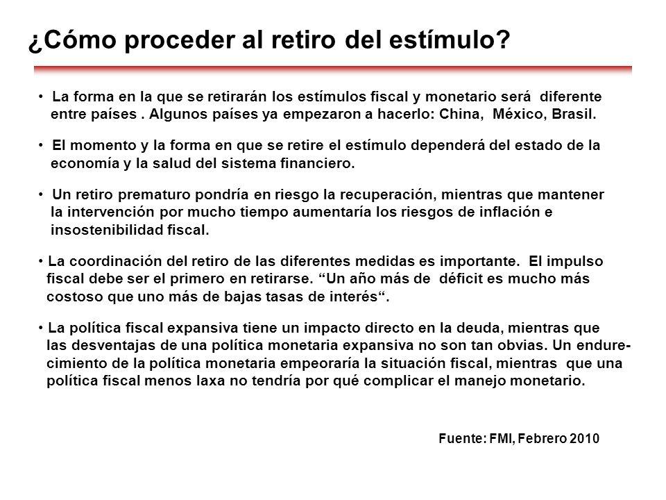 La forma en la que se retirarán los estímulos fiscal y monetario será diferente entre países. Algunos países ya empezaron a hacerlo: China, México, Br