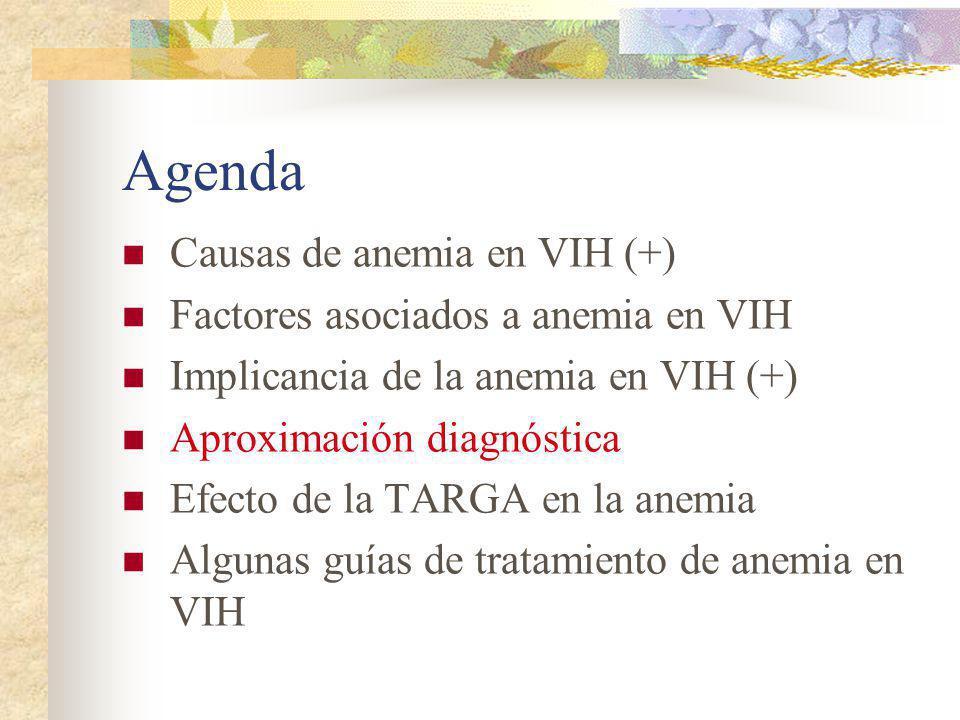 Agenda Causas de anemia en VIH (+) Factores asociados a anemia en VIH Implicancia de la anemia en VIH (+) Aproximación diagnóstica Efecto de la TARGA