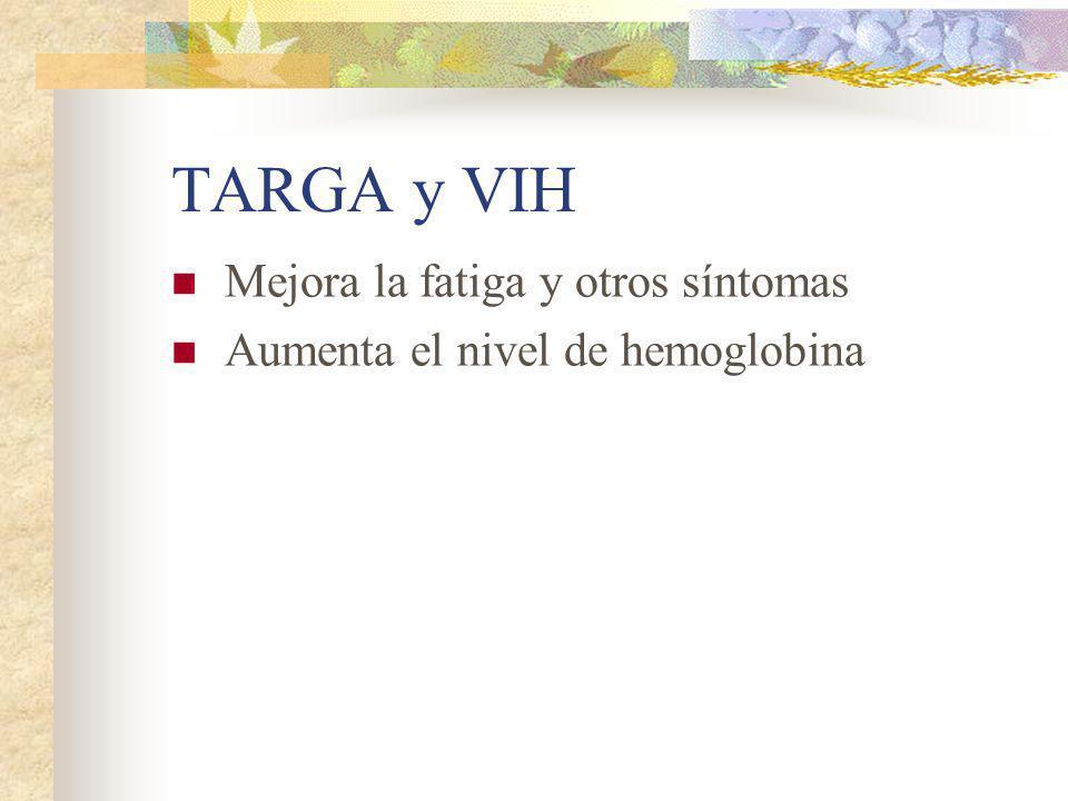 TARGA y VIH Mejora la fatiga y otros síntomas Aumenta el nivel de hemoglobina