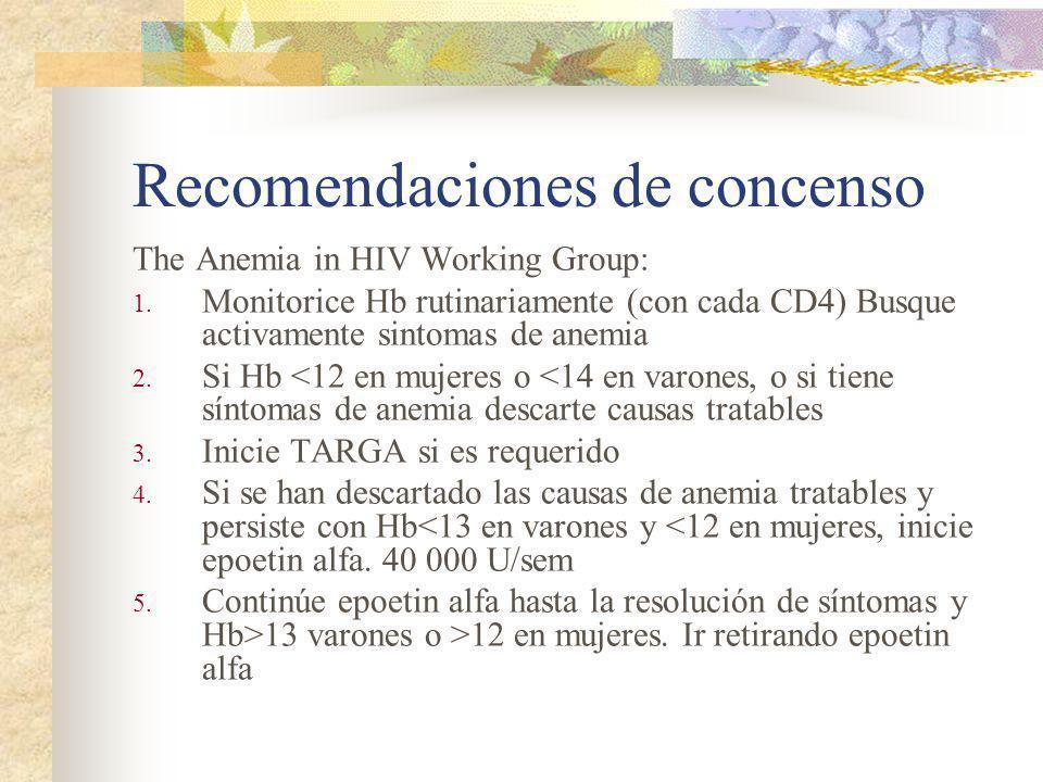 Recomendaciones de concenso The Anemia in HIV Working Group: 1. Monitorice Hb rutinariamente (con cada CD4) Busque activamente sintomas de anemia 2. S