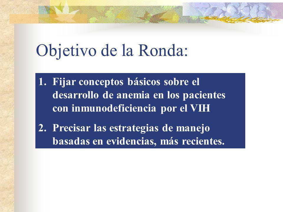 Objetivo de la Ronda: 1.Fijar conceptos básicos sobre el desarrollo de anemia en los pacientes con inmunodeficiencia por el VIH 2.Precisar las estrate