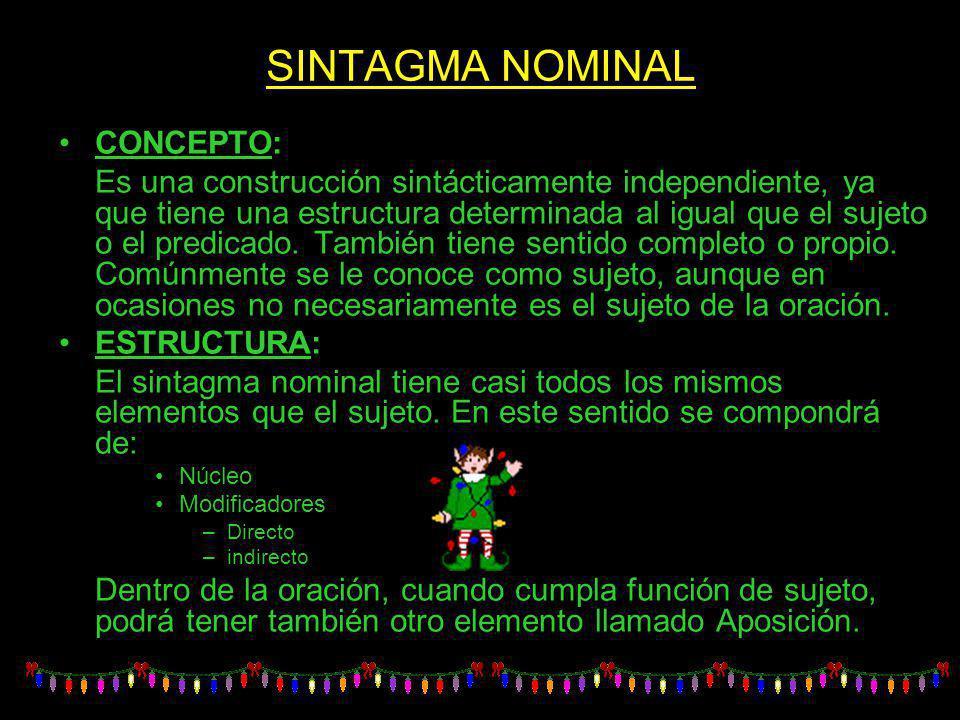 SINTAGMA NOMINAL CONCEPTO: Es una construcción sintácticamente independiente, ya que tiene una estructura determinada al igual que el sujeto o el pred