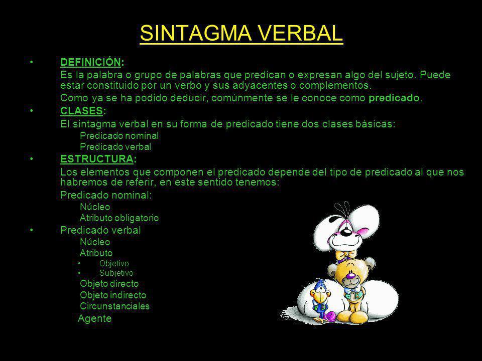 SINTAGMA VERBAL DEFINICIÓN: Es la palabra o grupo de palabras que predican o expresan algo del sujeto. Puede estar constituido por un verbo y sus adya