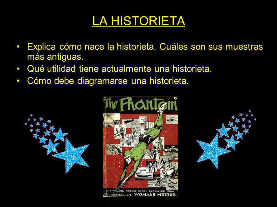 LA HISTORIETA Explica cómo nace la historieta. Cuáles son sus muestras más antiguas. Qué utilidad tiene actualmente una historieta. Cómo debe diagrama