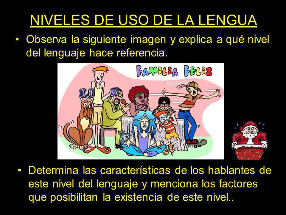 NIVELES DE USO DE LA LENGUA Observa la siguiente imagen y explica a qué nivel del lenguaje hace referencia. Determina las características de los habla