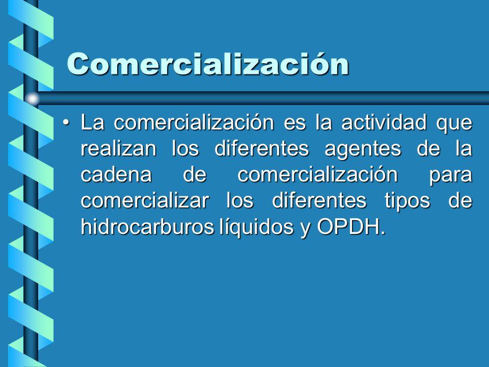 Comercialización La comercialización es la actividad que realizan los diferentes agentes de la cadena de comercialización para comercializar los diferentes tipos de hidrocarburos líquidos y OPDH.La comercialización es la actividad que realizan los diferentes agentes de la cadena de comercialización para comercializar los diferentes tipos de hidrocarburos líquidos y OPDH.