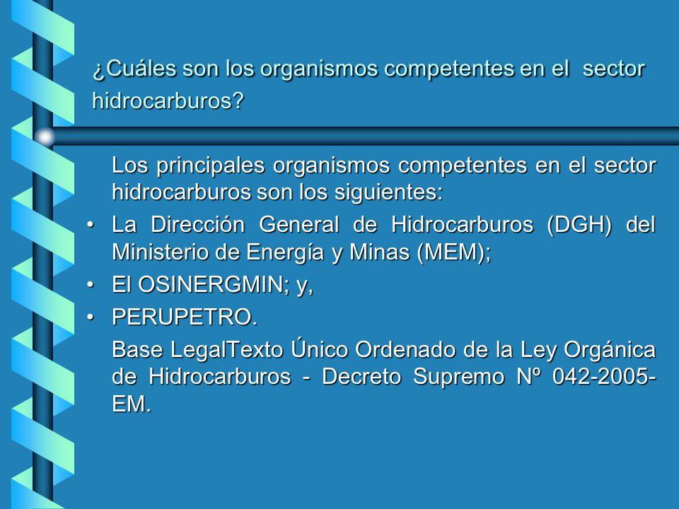 ¿Cuáles son los organismos competentes en el sector hidrocarburos.