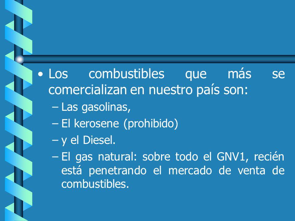 Los combustibles que más se comercializan en nuestro país son: – –Las gasolinas, – –El kerosene (prohibido) – –y el Diesel.