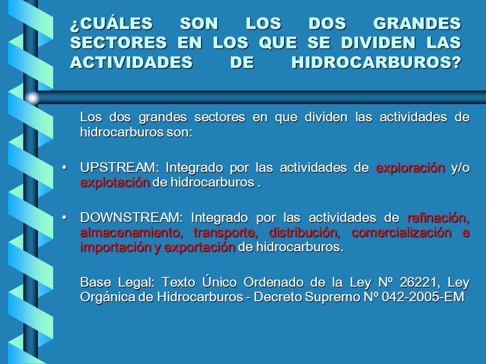 ¿CUÁLES SON LOS DOS GRANDES SECTORES EN LOS QUE SE DIVIDEN LAS ACTIVIDADES DE HIDROCARBUROS.
