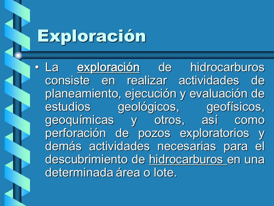 Exploración La exploración de hidrocarburos consiste en realizar actividades de planeamiento, ejecución y evaluación de estudios geológicos, geofísicos, geoquímicas y otros, así como perforación de pozos exploratorios y demás actividades necesarias para el descubrimiento de hidrocarburos en una determinada área o lote.La exploración de hidrocarburos consiste en realizar actividades de planeamiento, ejecución y evaluación de estudios geológicos, geofísicos, geoquímicas y otros, así como perforación de pozos exploratorios y demás actividades necesarias para el descubrimiento de hidrocarburos en una determinada área o lote.