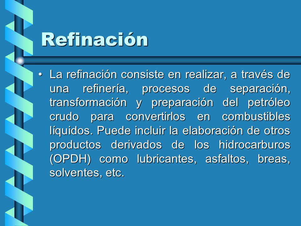 Refinación La refinación consiste en realizar, a través de una refinería, procesos de separación, transformación y preparación del petróleo crudo para convertirlos en combustibles líquidos.