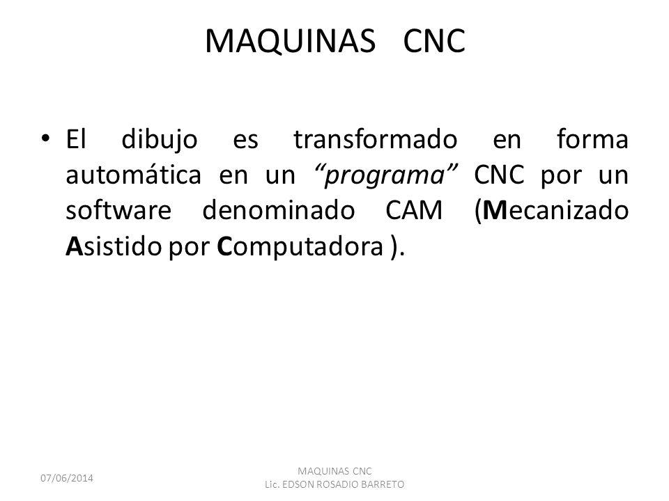 MAQUINAS CNC El dibujo es transformado en forma automática en un programa CNC por un software denominado CAM (Mecanizado Asistido por Computadora ). 0