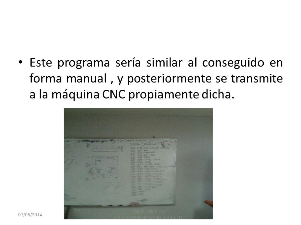Este programa sería similar al conseguido en forma manual, y posteriormente se transmite a la máquina CNC propiamente dicha. 07/06/2014 MAQUINAS CNC L