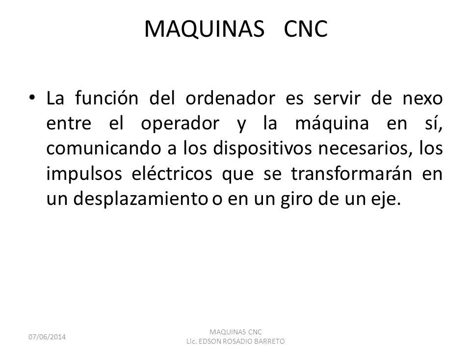 MAQUINAS CNC La función del ordenador es servir de nexo entre el operador y la máquina en sí, comunicando a los dispositivos necesarios, los impulsos