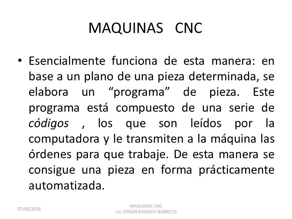 MAQUINAS CNC Esencialmente funciona de esta manera: en base a un plano de una pieza determinada, se elabora un programa de pieza. Este programa está c