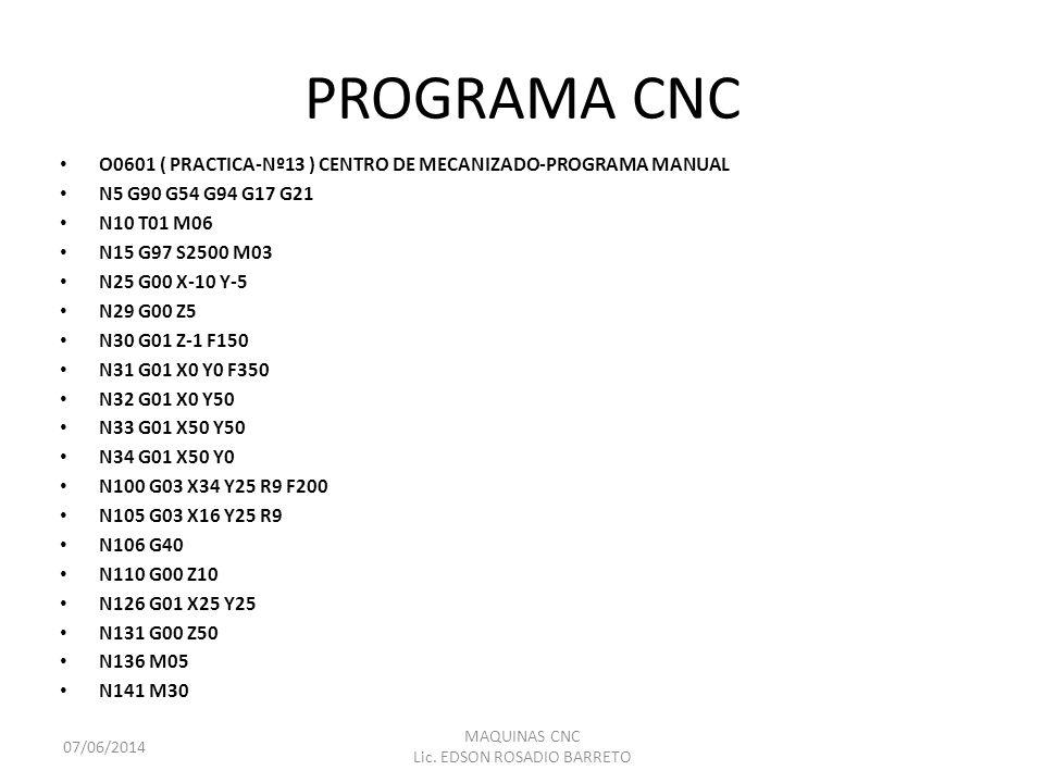 PROGRAMA CNC O0601 ( PRACTICA-Nº13 ) CENTRO DE MECANIZADO-PROGRAMA MANUAL N5 G90 G54 G94 G17 G21 N10 T01 M06 N15 G97 S2500 M03 N25 G00 X-10 Y-5 N29 G0