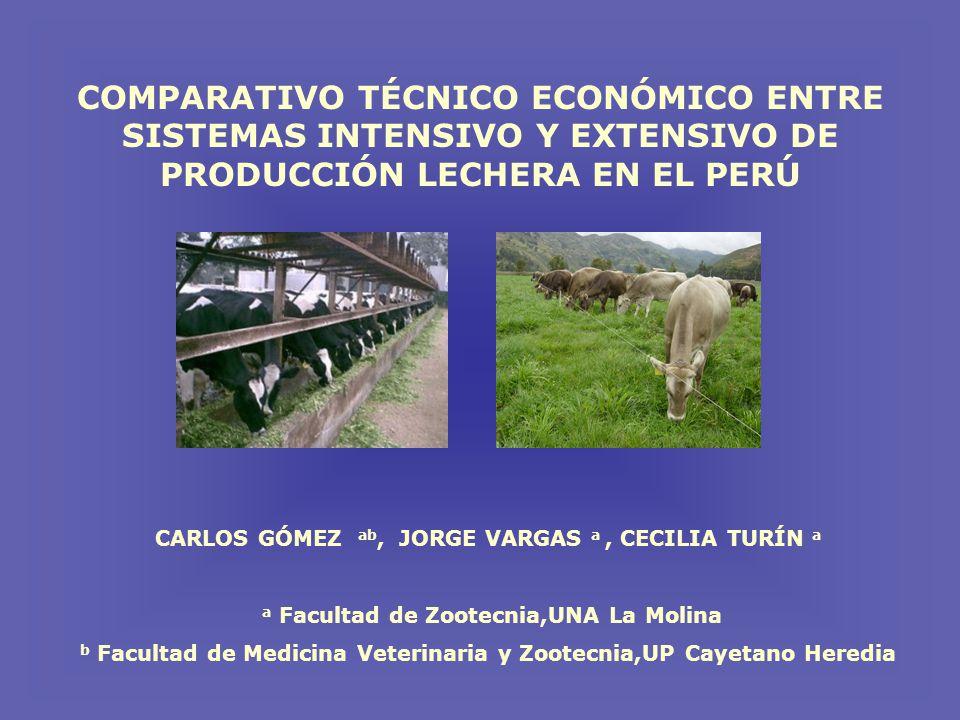 COMPARATIVO TÉCNICO ECONÓMICO ENTRE SISTEMAS INTENSIVO Y EXTENSIVO DE PRODUCCIÓN LECHERA EN EL PERÚ CARLOS GÓMEZ ab, JORGE VARGAS a, CECILIA TURÍN a a Facultad de Zootecnia,UNA La Molina b Facultad de Medicina Veterinaria y Zootecnia,UP Cayetano Heredia