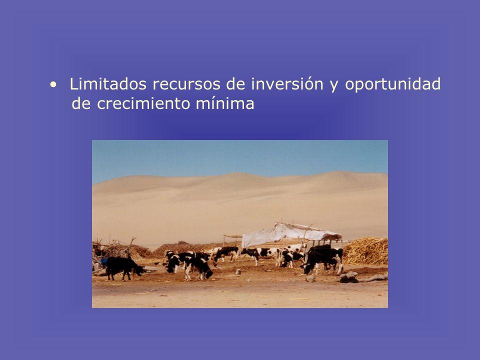Limitados recursos de inversión y oportunidad de crecimiento mínima