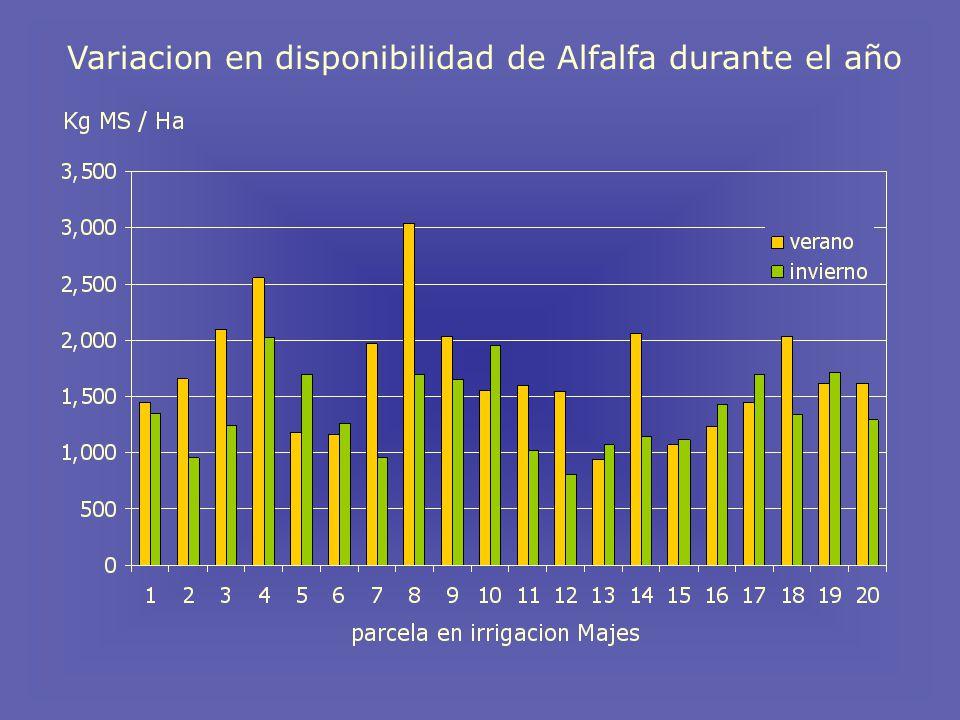 Variacion en disponibilidad de Alfalfa durante el año