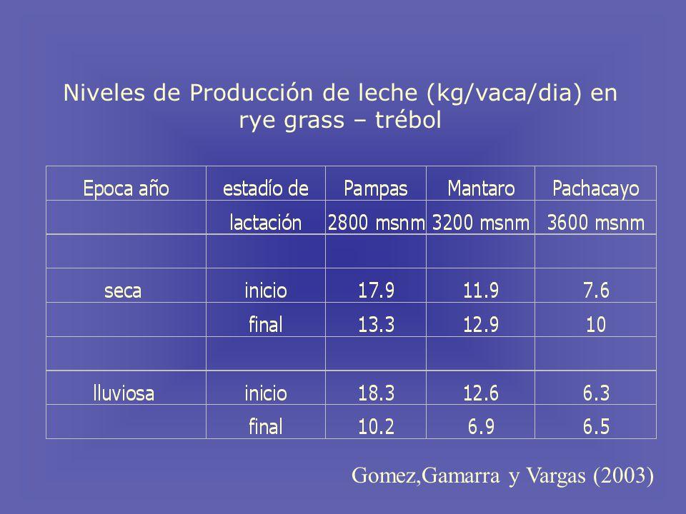 Niveles de Producción de leche (kg/vaca/dia) en rye grass – trébol Gomez,Gamarra y Vargas (2003)
