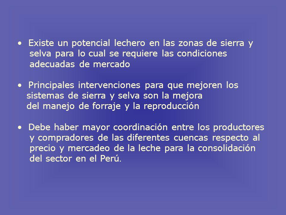 Existe un potencial lechero en las zonas de sierra y selva para lo cual se requiere las condiciones adecuadas de mercado Principales intervenciones para que mejoren los sistemas de sierra y selva son la mejora del manejo de forraje y la reproducción Debe haber mayor coordinación entre los productores y compradores de las diferentes cuencas respecto al precio y mercadeo de la leche para la consolidación del sector en el Perú.