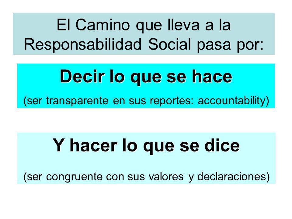 El Camino que lleva a la Responsabilidad Social pasa por: Decir lo que se hace (ser transparente en sus reportes: accountability) Y hacer lo que se di
