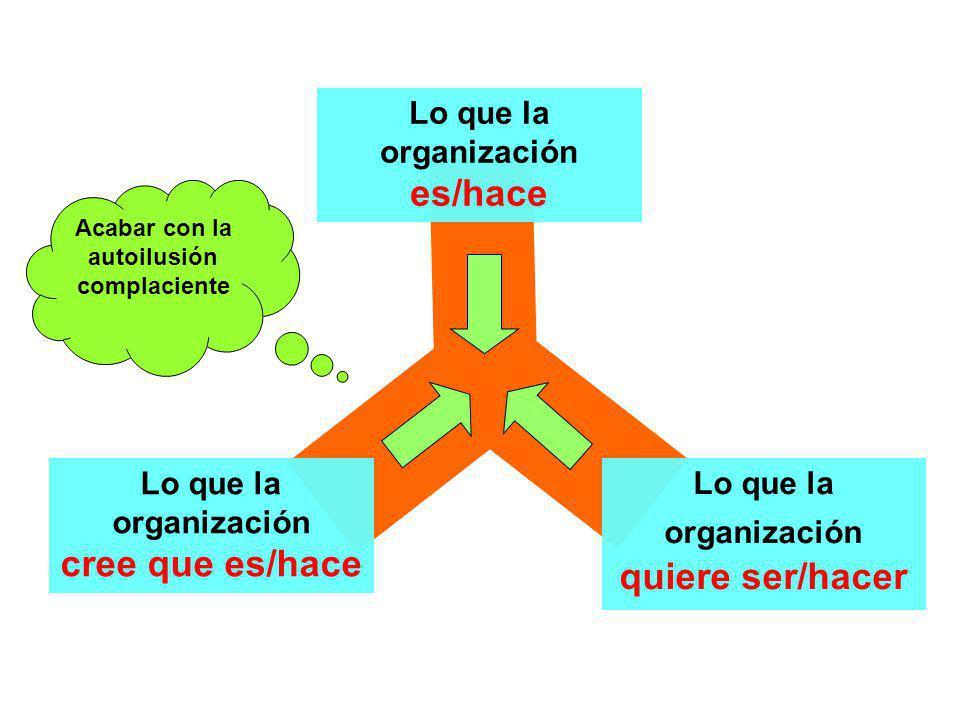 Lo que la organización cree que es/hace Lo que la organización es/hace Lo que la organización quiere ser/hacer Acabar con la autoilusión complaciente