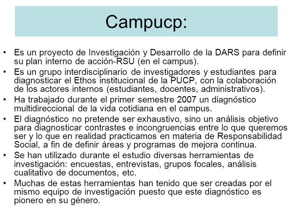 Campucp: Es un proyecto de Investigación y Desarrollo de la DARS para definir su plan interno de acción-RSU (en el campus). Es un grupo interdisciplin
