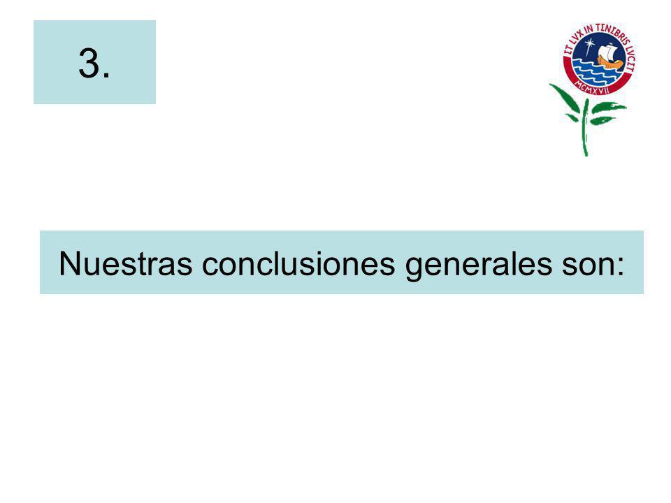 Nuestras conclusiones generales son: 3.