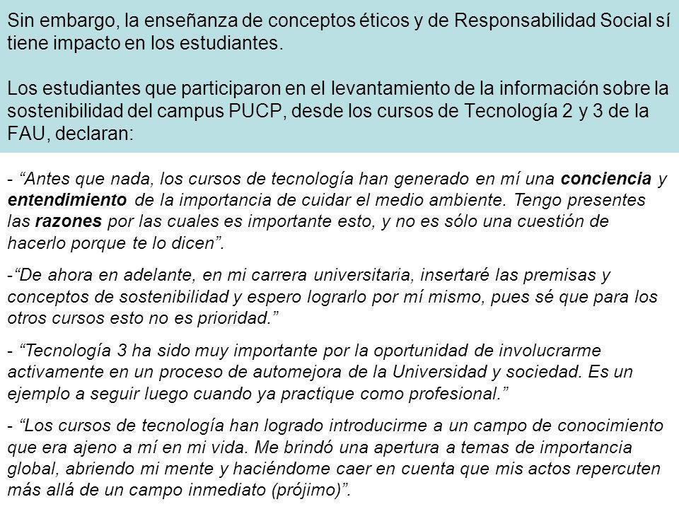 Sin embargo, la enseñanza de conceptos éticos y de Responsabilidad Social sí tiene impacto en los estudiantes. Los estudiantes que participaron en el