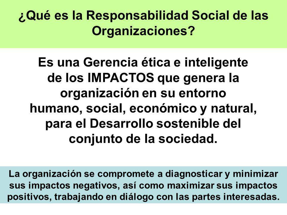 Es una Gerencia ética e inteligente de los IMPACTOS que genera la organización en su entorno humano, social, económico y natural, para el Desarrollo s