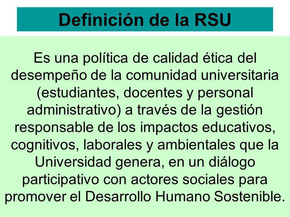 Es una política de calidad ética del desempeño de la comunidad universitaria (estudiantes, docentes y personal administrativo) a través de la gestión