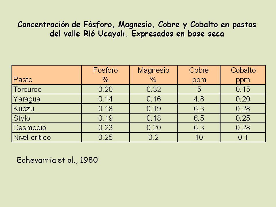 Echevarria et al., 1980 Concentración de Fósforo, Magnesio, Cobre y Cobalto en pastos del valle Rió Ucayali.