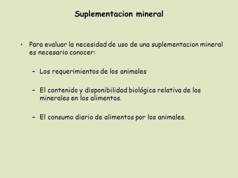 Suplementacion mineral Para evaluar la necesidad de uso de una suplementacion mineral es necesario conocer: –Los requerimientos de los animales –El contenido y disponibilidad biológica relativa de los minerales en los alimentos.