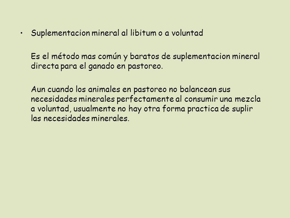 Suplementacion mineral al libitum o a voluntad Es el método mas común y baratos de suplementacion mineral directa para el ganado en pastoreo.