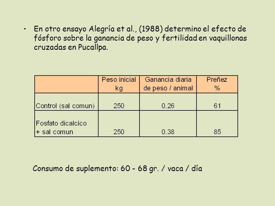 En otro ensayo Alegría et al., (1988) determino el efecto de fósforo sobre la ganancia de peso y fertilidad en vaquillonas cruzadas en Pucallpa.