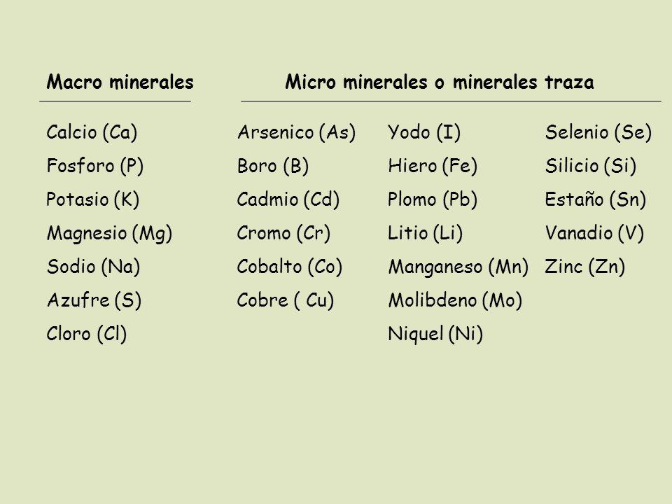 Macro mineralesMicro minerales o minerales traza Calcio (Ca) Fosforo (P) Potasio (K) Magnesio (Mg) Sodio (Na) Azufre (S) Cloro (Cl) Arsenico (As) Boro (B) Cadmio (Cd) Cromo (Cr) Cobalto (Co) Cobre ( Cu) Yodo (I) Hiero (Fe) Plomo (Pb) Litio (Li) Manganeso (Mn) Molibdeno (Mo) Niquel (Ni) Selenio (Se) Silicio (Si) Estaño (Sn) Vanadio (V) Zinc (Zn)